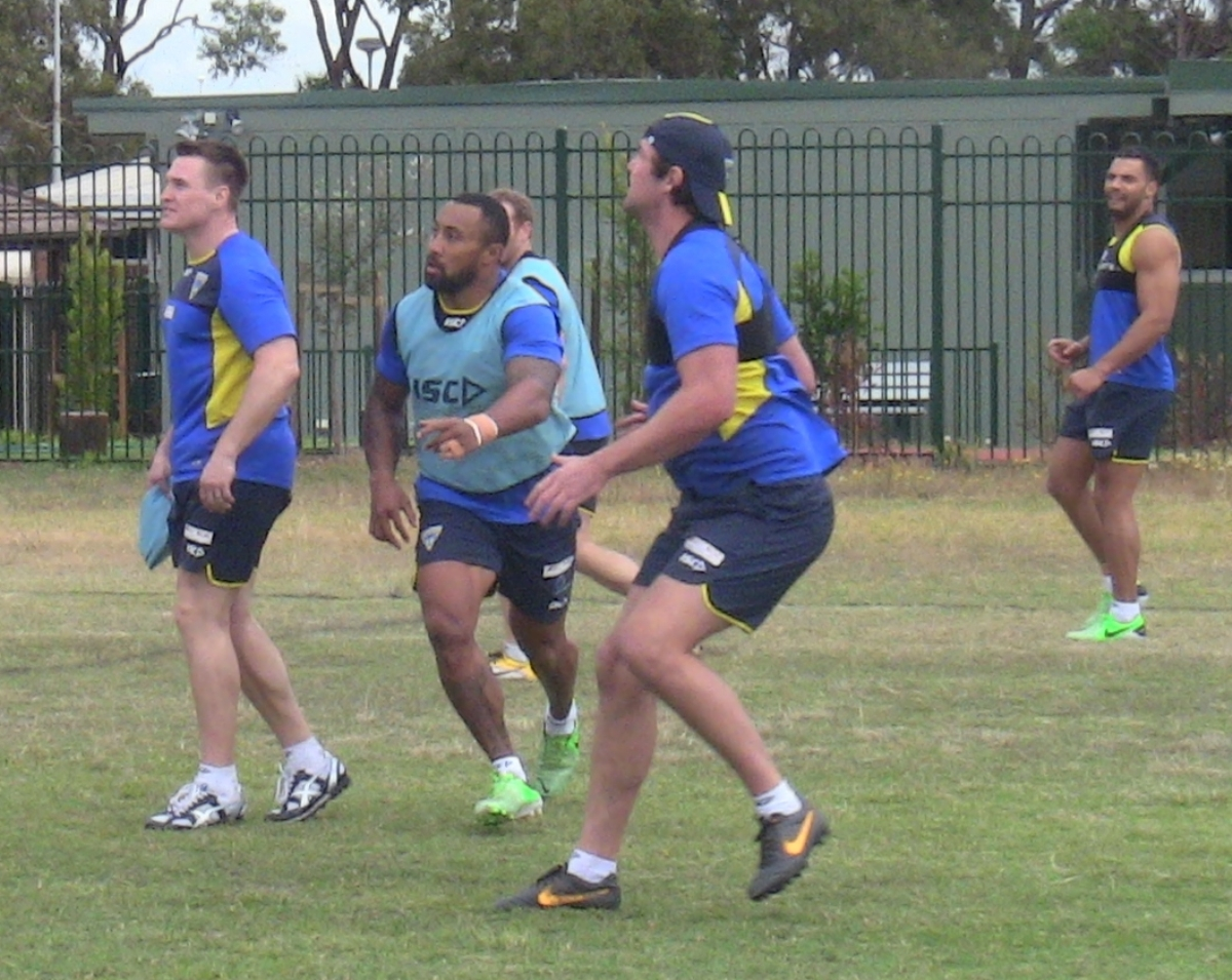 Asotasi in action during his first training session with Warrington Wolves