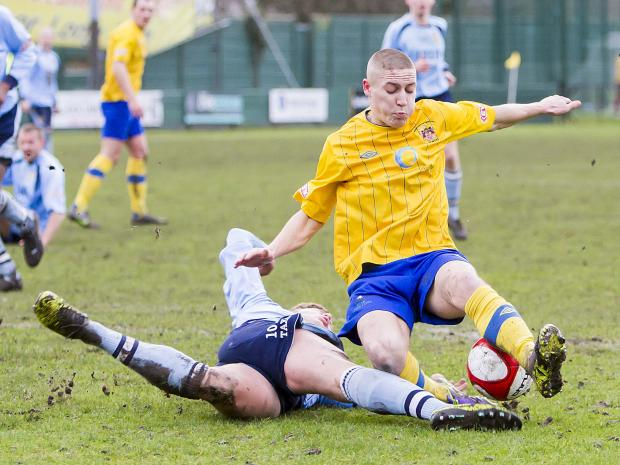 Scott Metcalfe against Salford City. Pictures by John Hopkins