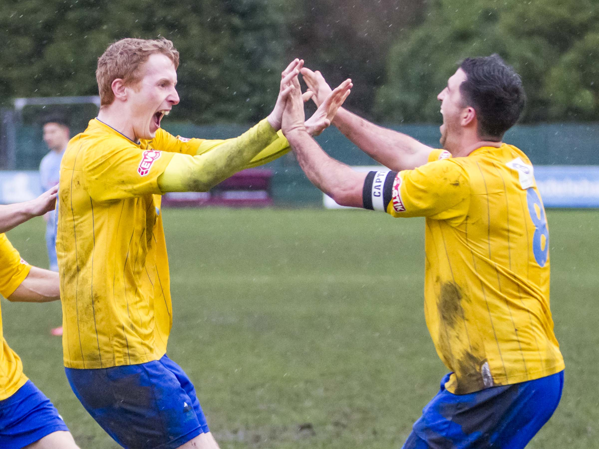 Ciaran Kilheeney, left, celebrates his goal with David Mannix. Picture by John Hopkins