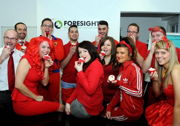 Staff at Foresight Recruitment Solutions get in the red