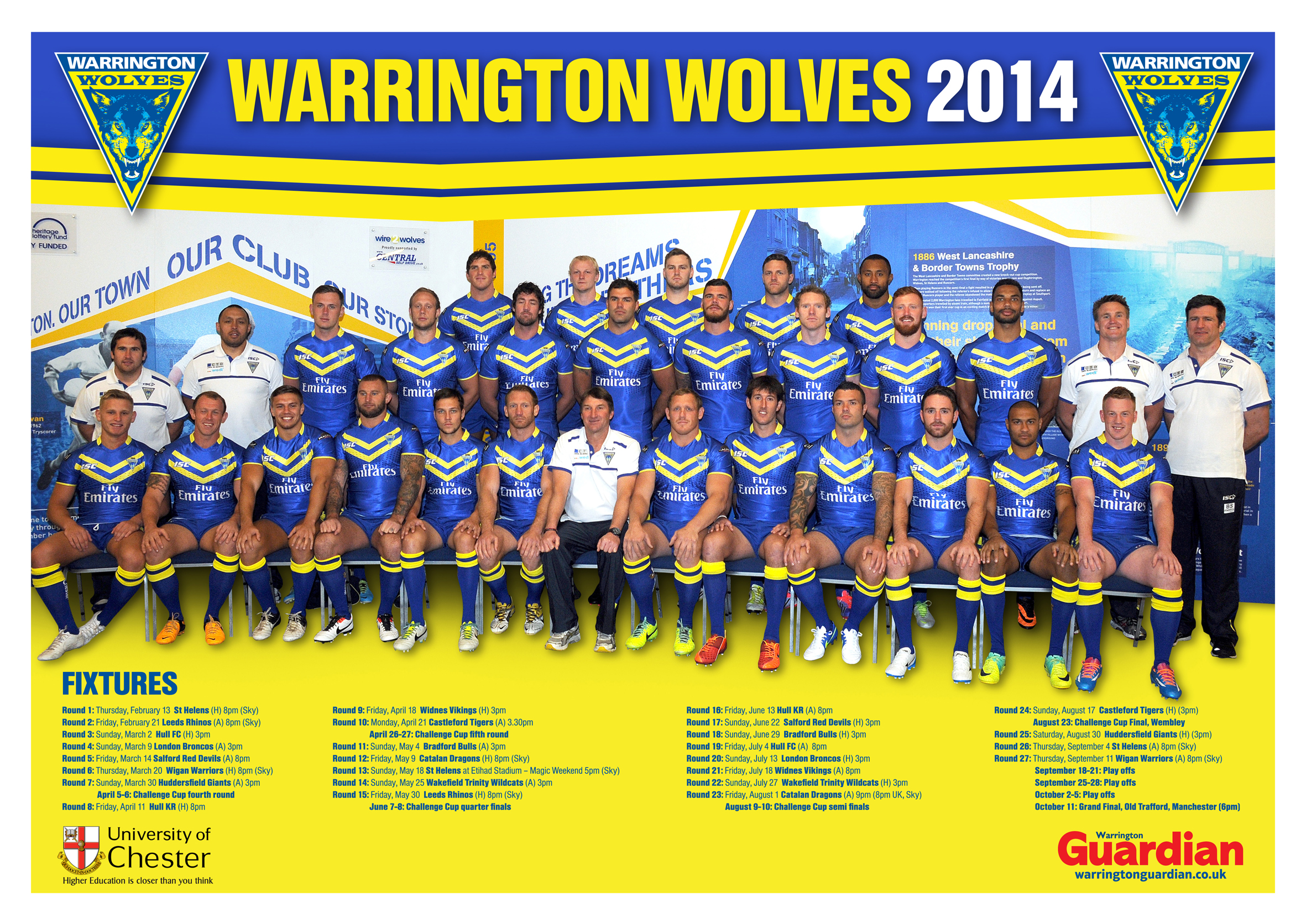 FREE: Double-sided glossy poster plus 12-page season preview pullout in today's Warrington Guardian