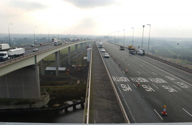 Three lanes of the M6 southbound were shut due to emergency repairs to the Thelwall Viaduct this morning.