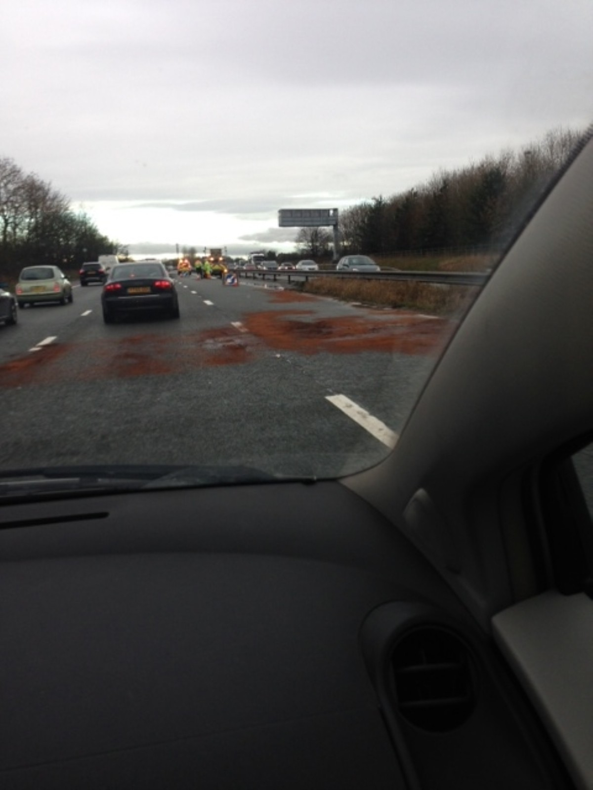 The scene on the M56