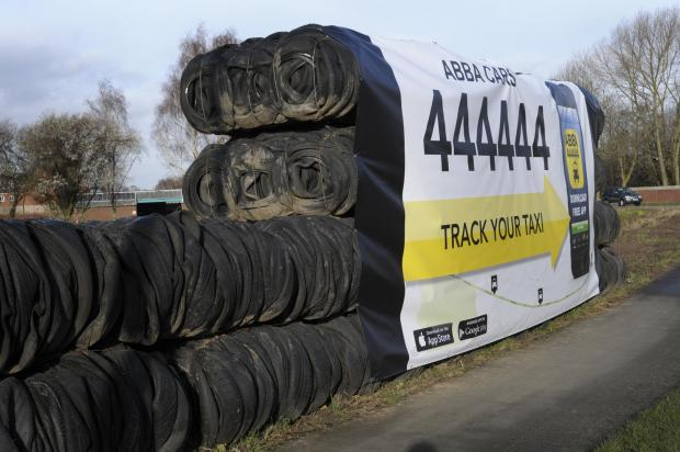 The bales of tyres have been constructed near to the Kingsway bridge