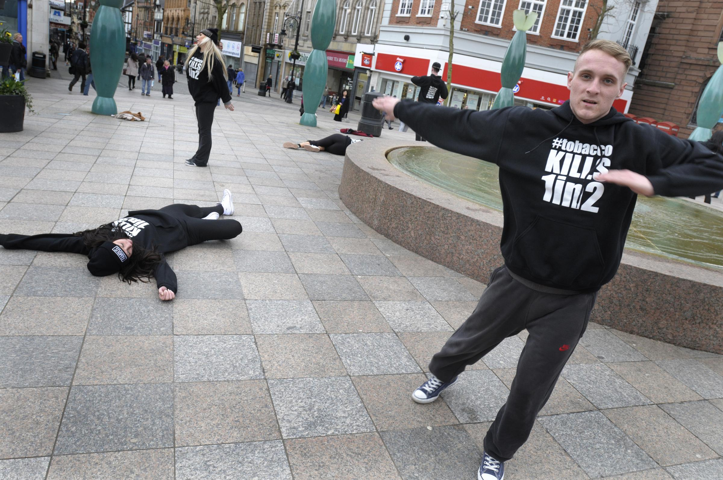 Street dancers in town centre anti-smoking campaign