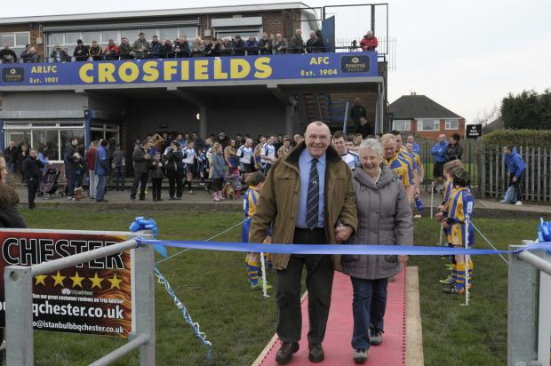 Life president Colin Webb opens new pitch at Crosfields