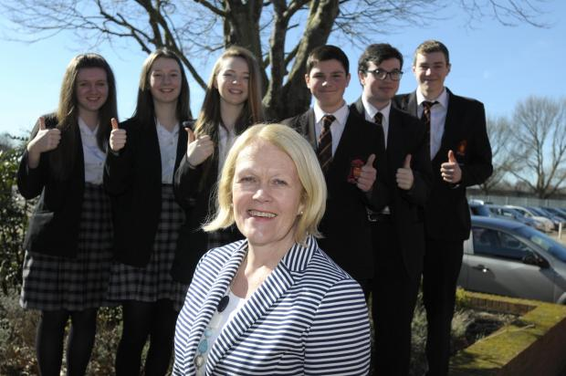 Head Julie Warburton with pupils