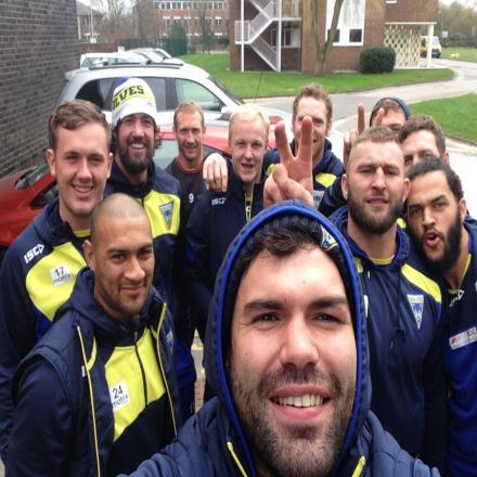 Warrington Wolves players pose for a 'welfie'