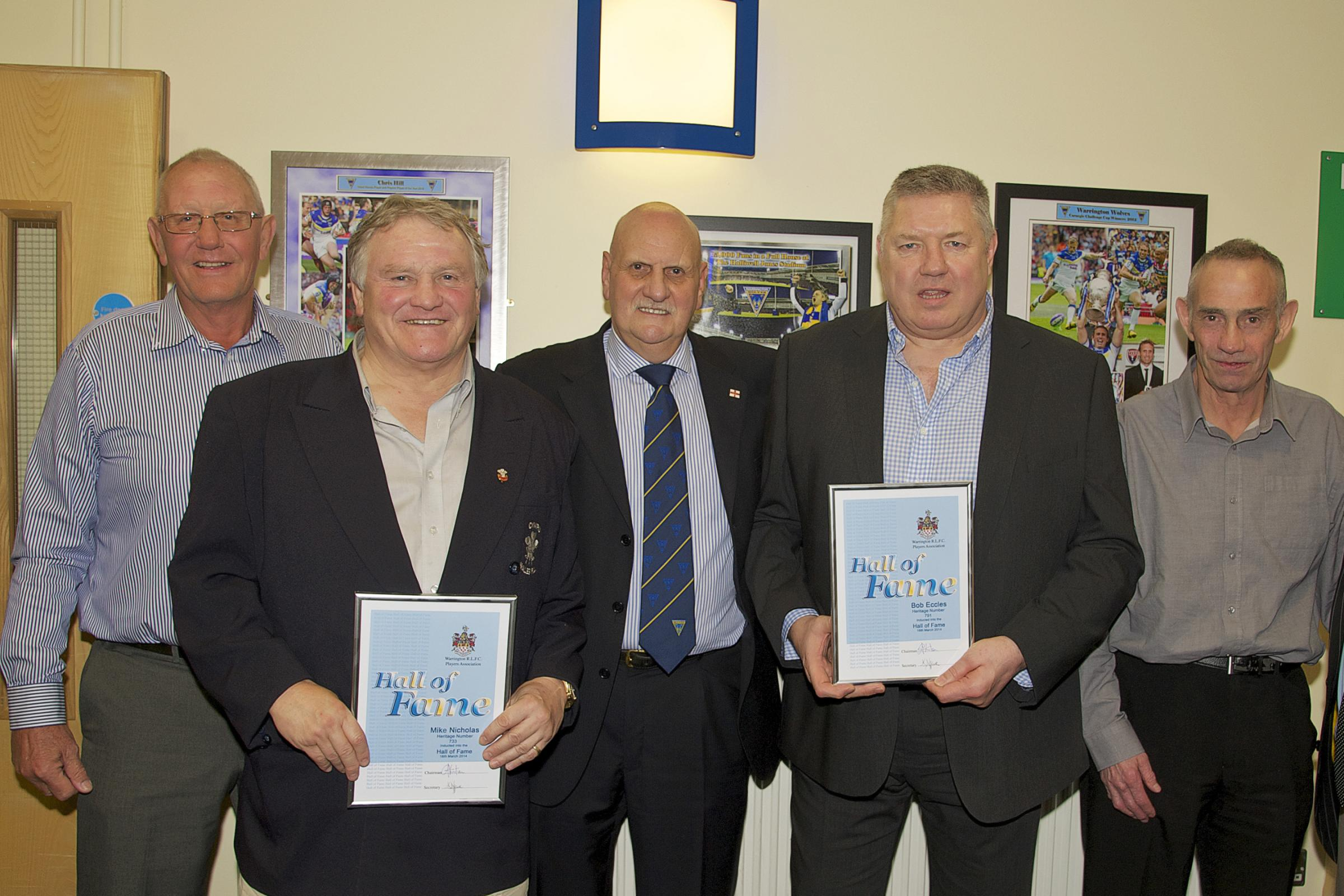 Bobby Wanbon, left, and Derek Whitehead, right, welcomed Nicholas, second from left, and Eccles, second from right, to the hall of fame after induction by chairman George Thornton, centre