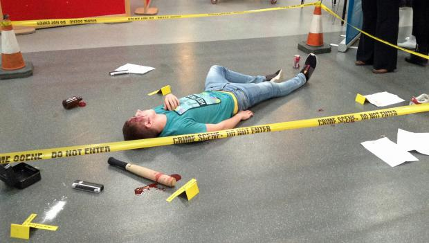 Realistic crime scene by forensic students