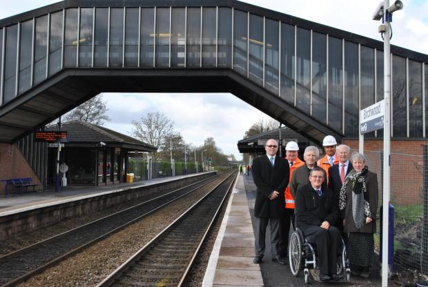 Picture shows (from left): Steve Hunter, transportation manager, Warrington Borough Council; Jon Kelly, Network Rail; Councillor Brian Axcell; Dave Thompson MBE, chair of Warrington Disability Partnership; Behnam Sarani, Network Rail; Councillor Les Hoyle