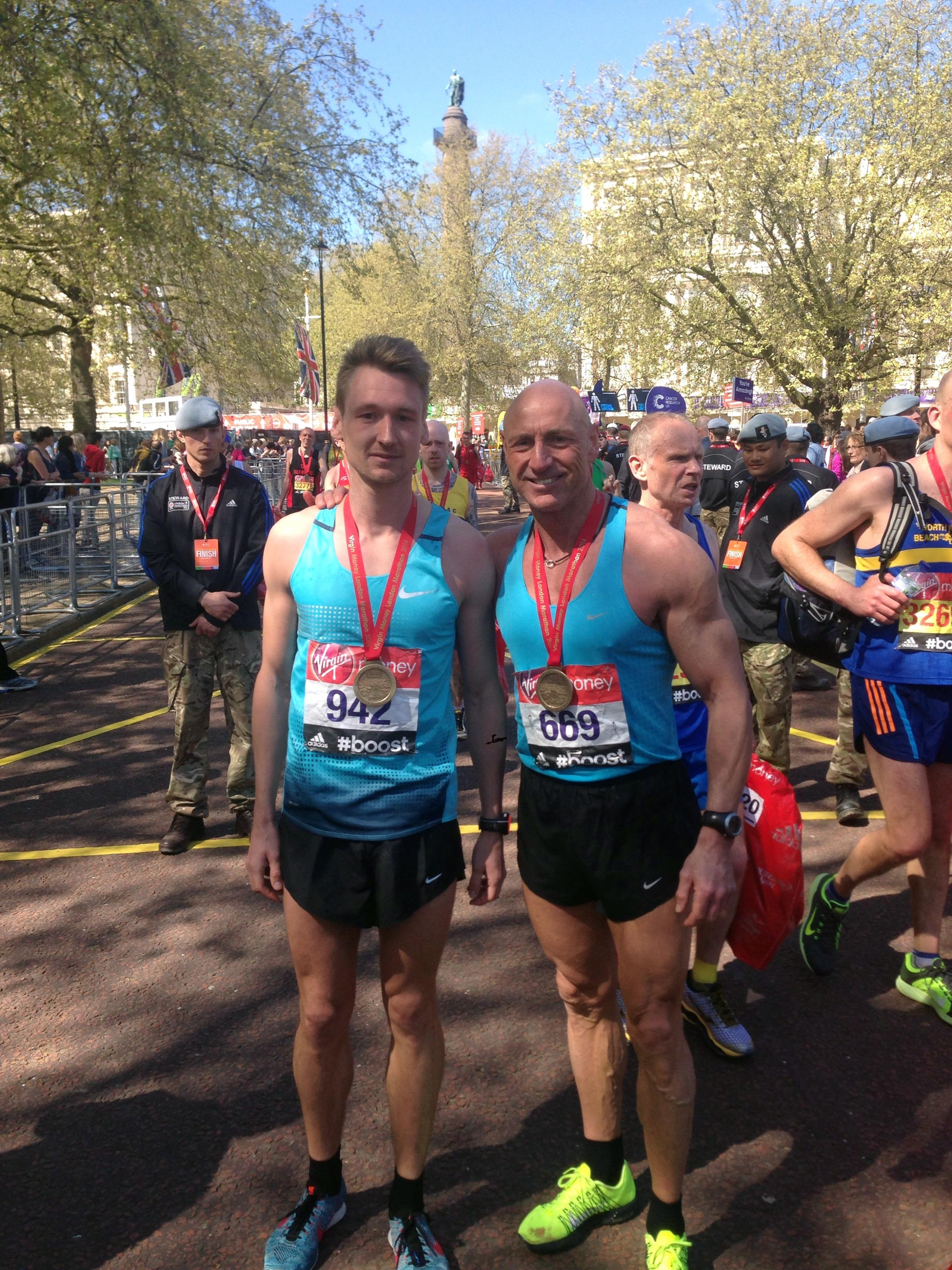 Ben and Graham Green at the finish of the Virgin London Marathon