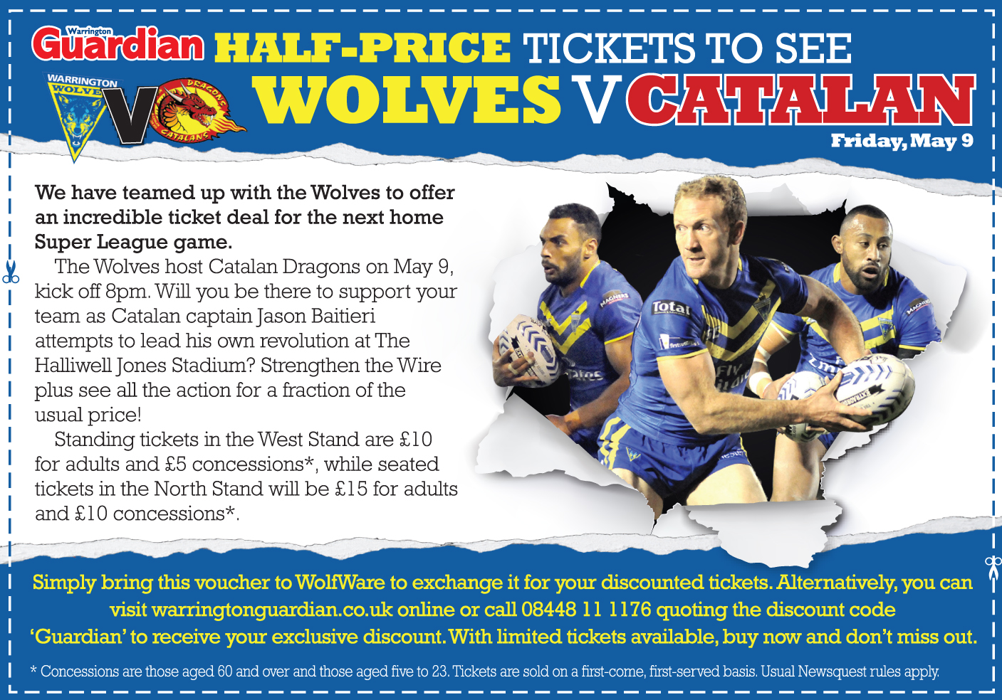 Warrington Guardian: Half-price tickets to see Wolves v Catalan