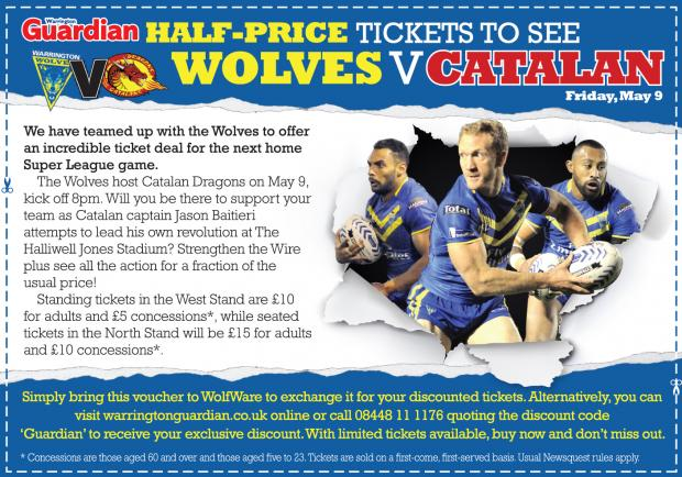 Half-price tickets to see Wolves v Catalan