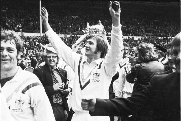 John Bevan, pictured here as a Challenge Cup winner in 1974, scored a hat-trick against Leeds in the 1975 semi final