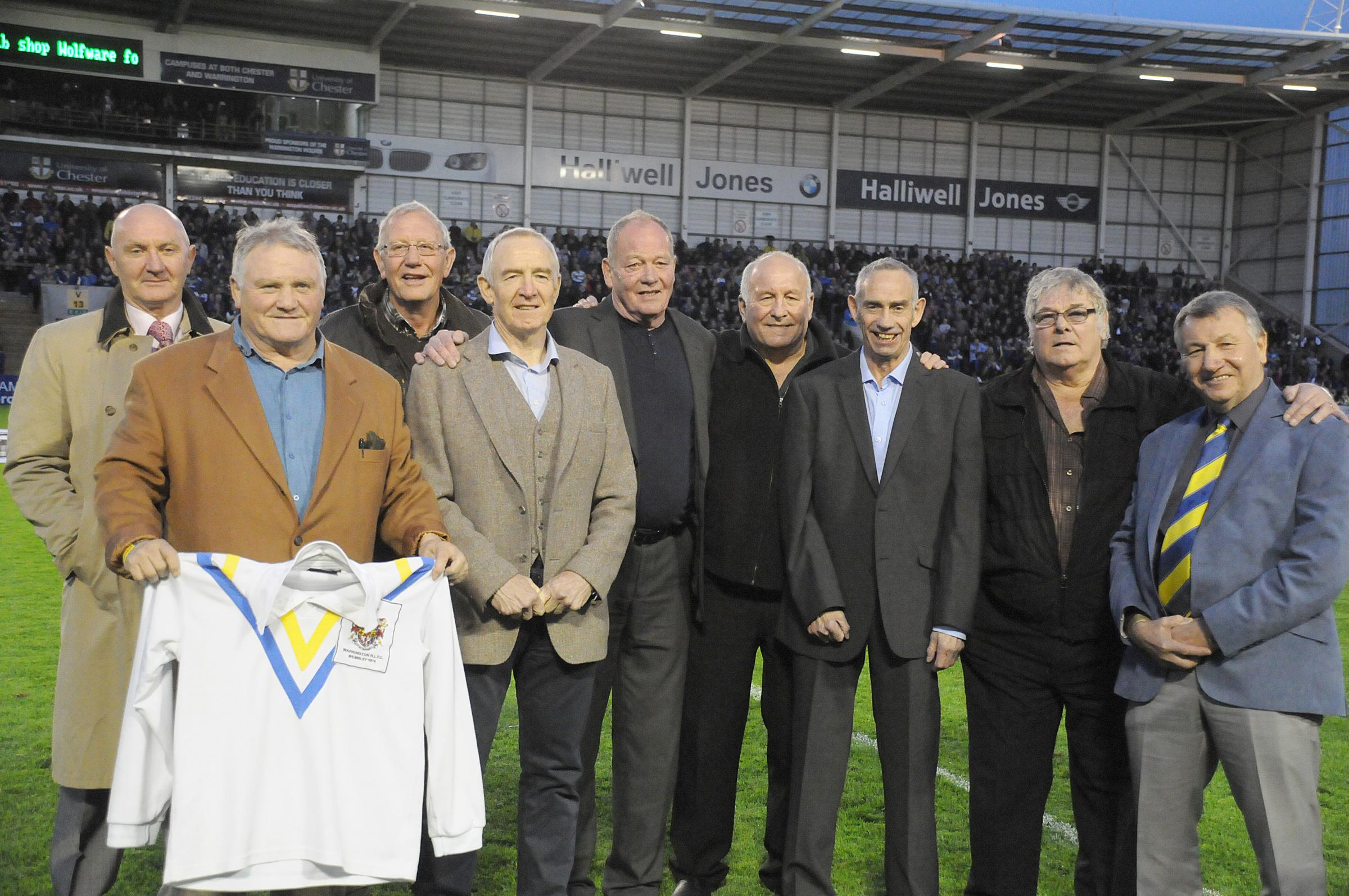 On parade at The Halliwell Jones Stadium on Friday, members of the 1974 squad