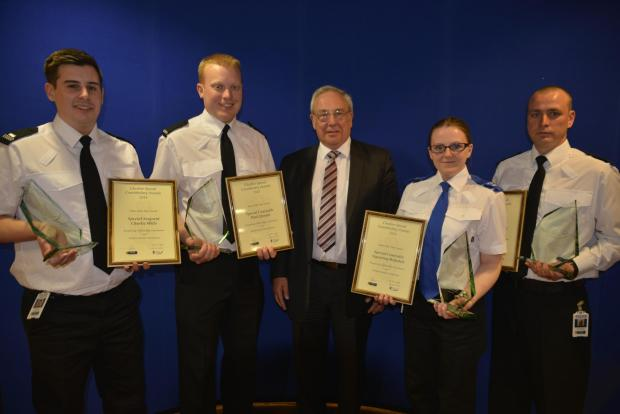 Special Sergeant Charlie Mills, Special Constable Paul Quayle, Special Constable Sigourney Ridsdale and Special Constable Michael Grogan are given their awards by Police & Crime Commissioner for Cheshire John Dwyer.