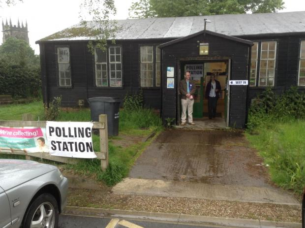 A polling station in Lymm this morning
