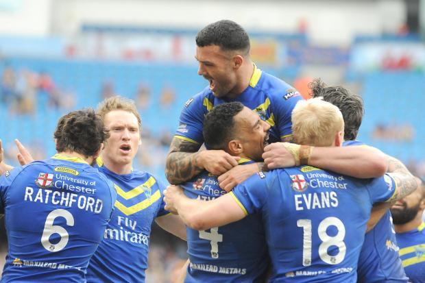 Celebrating a try in the win against St Helens at the Etihad Stadium on Sunday. Picture by Mike Boden