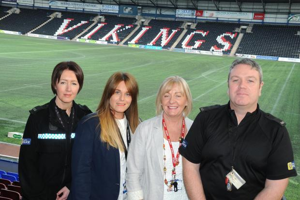 From left, PC katie shone, laura hughes, jane unsworth, PC mark jenkins, the two civilians are senior nurse practitioners for mental health 5 boroughs partnership