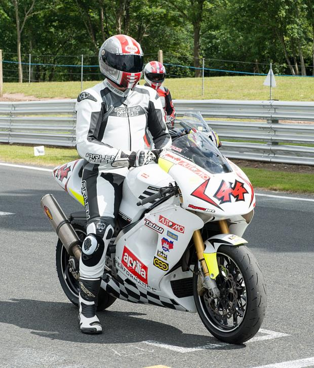 Warrington Guardian: Andy Duncan from Warrington with his Aprilia 1000 Superbike. Photo MIKE LYNE