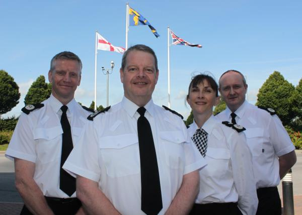 ACC Guy Hindle, Chief Constable Simon Byrne, DCC Janette McCormick and ACC Mark Roberts complete the line-up of Cheshire Constabulary's new-look Force Leadership Team