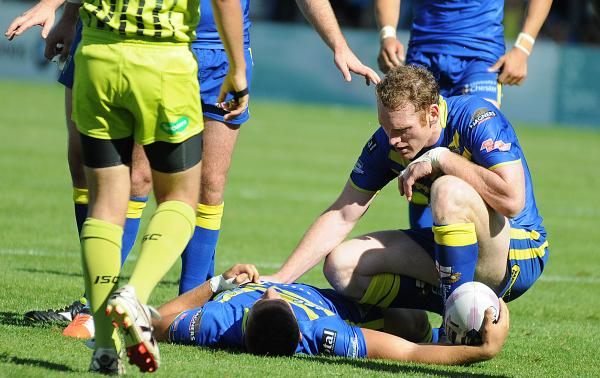 Joel Monaghan looks after teammate Matty Russell