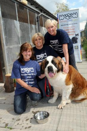 Kath  Jones, centre co-ordinator with Janet Thornton and Lorraine Mawdsley who are trustees along with a canine friend