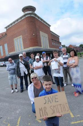 Mr Smiths campaigners outside the Warrington venue. In front with sign are Diane Kerfoot and Mikey Cadwallader