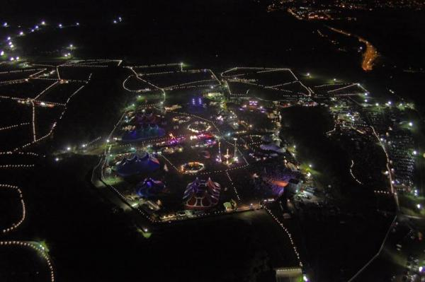 Aerial shot of the Creamfields site at night