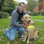 Warrington Guardian: Edward Green with his guide dog Macca IPE19914