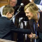 Warrington Guardian: New headteacher Beverley Scott-Herron with Year Seven pupil Harlee Cann