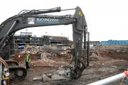 The diggers moving in on the Wilderspool site