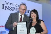 Pro-Vice chancellor of the Warrington campus of the University of Chester Professor Peter Harrop with winner Joanne Edwards mbso301014