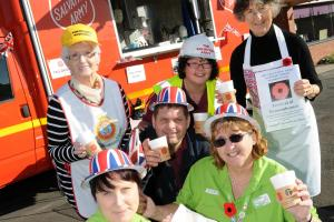 Salvation Army giving out hot drinks and doughnuts in First World War tribute