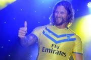 Ashton Sims greets the Golden Square crowd at the Christmas Lights Switch On. Pictures: MIKE BODEN