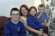Claire Bracewell with children Lewis, aged 10, Maddy, aged five, Taylor, aged two IPZQ13115