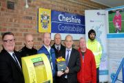 Councillors, police and representatives from Certas Energy and The Oliver King Foundation during the defibrillator presentation