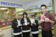 Staff at the pharmacy, from l: Julie Corrigan, Carmel O'Neill, Rachel Ore and Enda Bradley with advice leaflets IPP4215