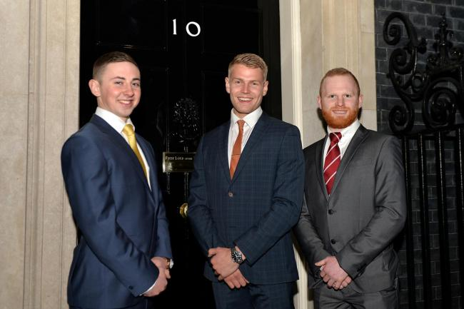 Redrow trainees at 10 Downing Street, from left, Liam Sargeant, Ashley Terron and Tom Dixon