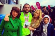 Dan after the race with mum, Mandy, girlfriend, Abbi Leach and brother, Will