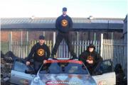 The Dukes of Biohazard, aka Chris Johnson, Craig Daniels and Mark Ryder with their BMW