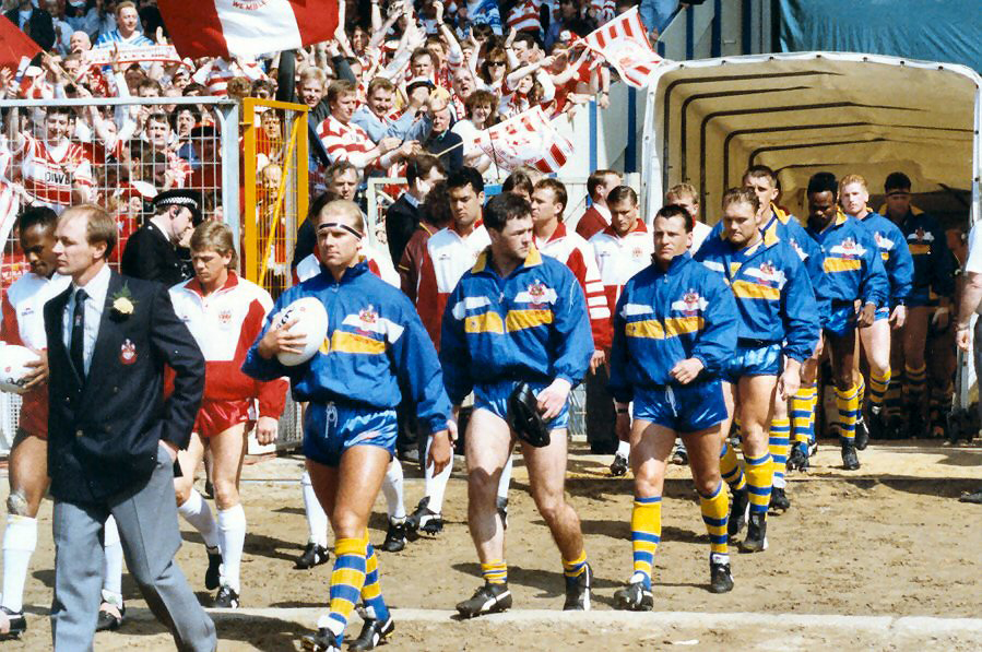 Brian Johnson leading his Warrington team out at Wembley in 1990.