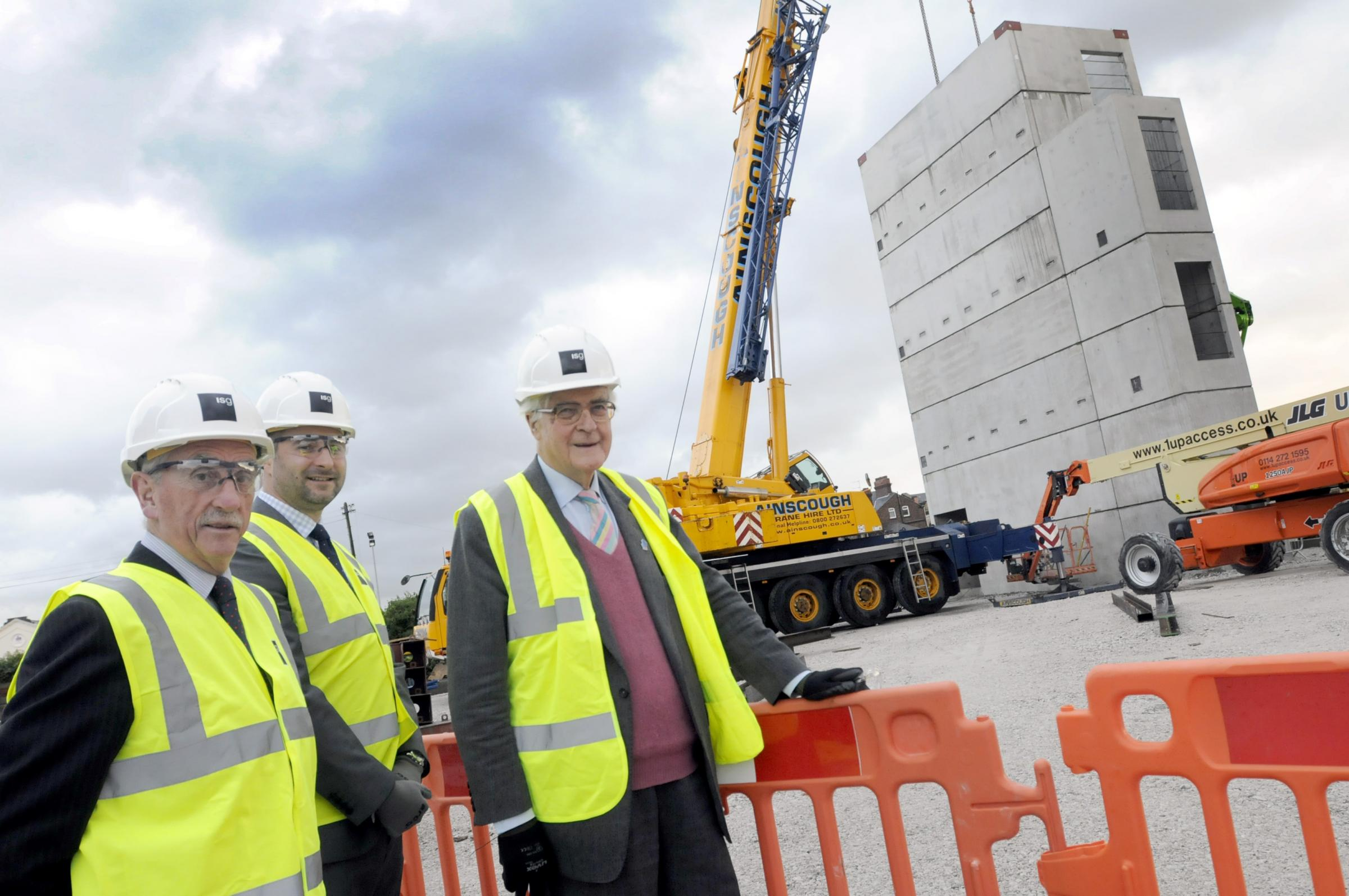 Warrington Borough Council leader Cllr Terry O' Neill, University Technical College principal Lee Barber and Lord Kenneth Baker visited the Dallam Lane site yesterday.