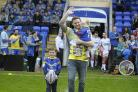 Simon Grix and his children at his Testimonial game between Warrington Wolves and Leigh Centurions. Picture by Mike Boden