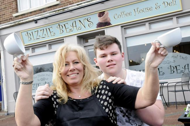 Karen Howard with son Josh outside Bizzie Beans