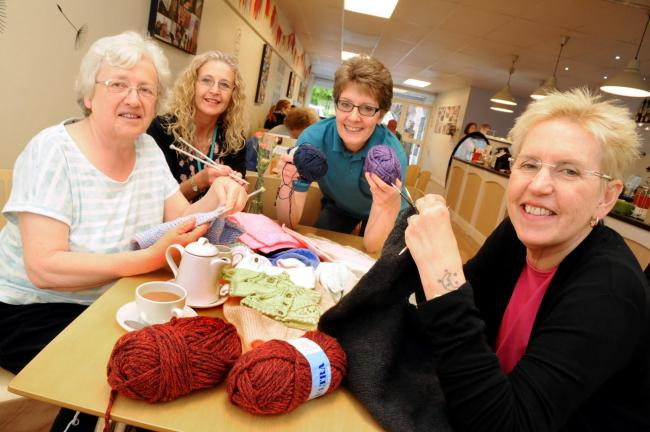 From left, Anita Quayle, Jan Tudor, Helen Harvey and Kath Kelly enjoying a knit and natter session DG_697001