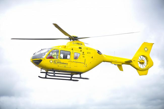 The air ambulance was called to the scene this morning