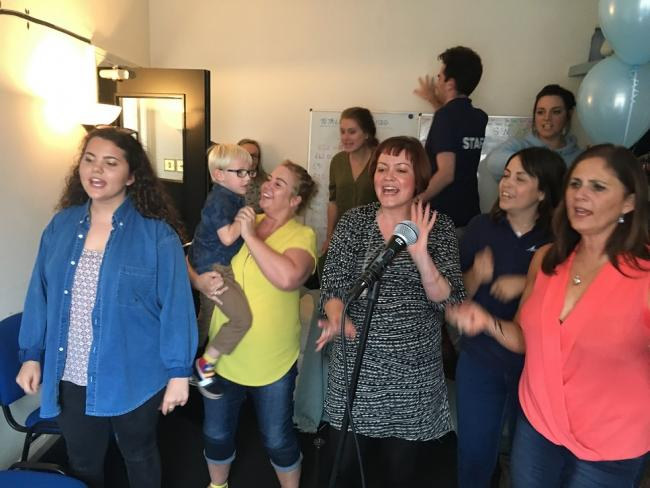 Residents hit the high notes during the 24-hour sing-a-thon and raised more than £1,600