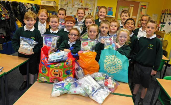Pupils at Appleton Thorn Primary School have been busy assembling 'hygiene packs'